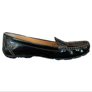 Geox Respira Black Patent Leather Driving Shoes
